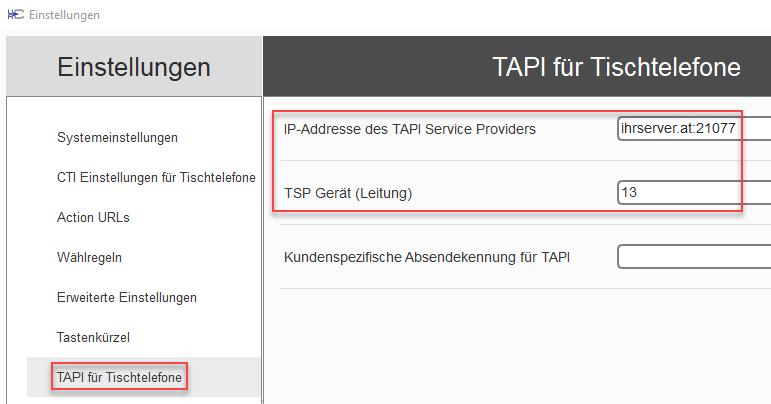 TAPI-Server - uaCSTA settings
