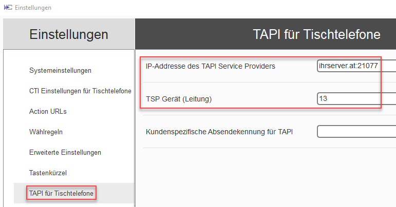 Impostazioni TAPI-Server - uaCSTA