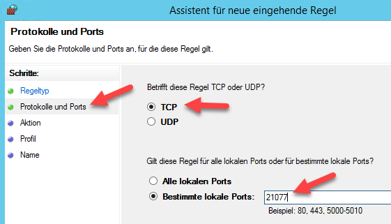 TAPI-Server Firewall - Protokolle und Ports angeben