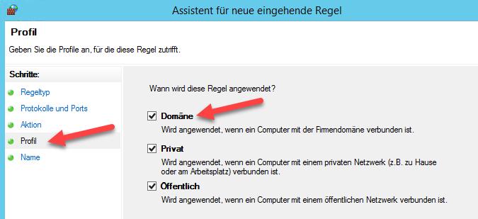 TAPI-Server Firewall - Profil Domäne auswählen