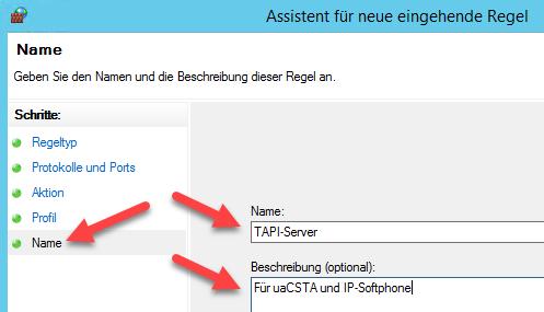 TAPI-Server Firewall - Regel Namen bestimmen