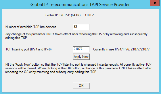 TAPI-Server - add driver on server